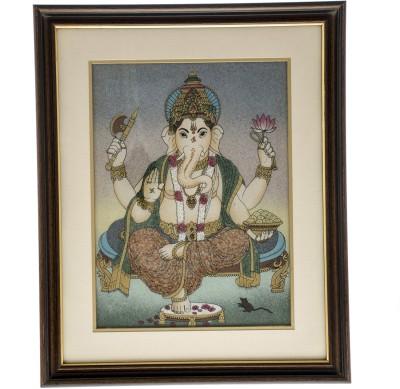 Print My Emotion Ganesh Jee Gem Stone Oil Painting