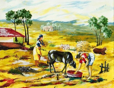 IMFPA Indian Village Scene Unframed Reprint Painting Canvas Painting