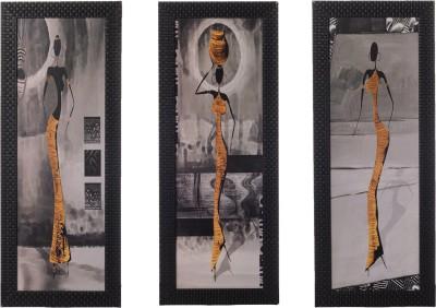 eCraftIndia Set Of 3 Tribal Lady Showpiece  -  50 cm(Wooden, Paper, Multicolor)