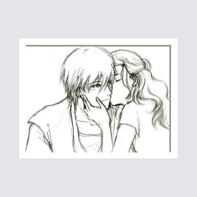 Oobinno Lovable Couple Romance Painting Pencil Painting