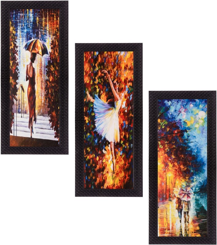 eCraftIndia Set of 3 Decorative Canvas Painting(16 inch x 7...