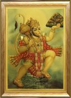 SAF Hanuman Ji in Golden Foil Canvas Painting(12 inch x 10 inch)