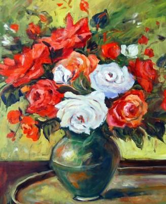 Tiedribbons English Vase and Flower unframed Cotton Medium Grain Canvas Roll (Set of 1)