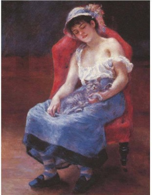 Snapgalaxy Art Panel - A girl asleep by Renoir Canvas Painting