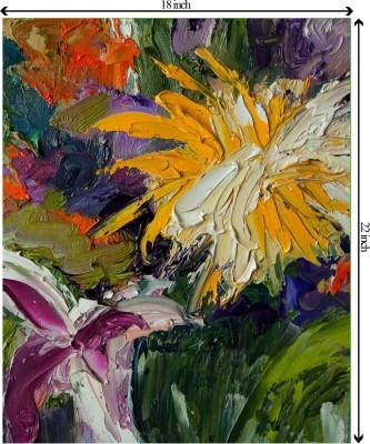 Tiedribbons Bloom s of Flower unframed Cotton Medium Grain Canvas Roll (Set of 1)(Multicolor)