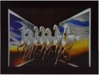 eCraftIndia Running Lucky Horses Design Satin Matt Texture Canvas Painting(10.5 inch x 13.5 inch)