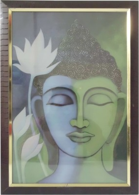 Quality Mart Religious Lord Buddha With White Flowers Pastel Painting