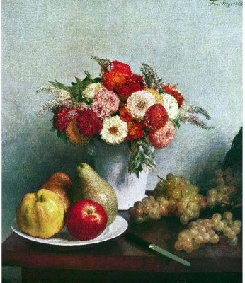 Snapgalaxy Art Panel - Still-life with flowers and fruit by Fantin-Latour Canvas Painting