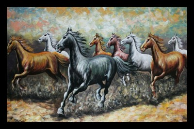 DKH running horse with texture effect art print Canvas Painting
