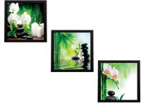 eCraftIndia Set Of 3 White Flora and Stones Satin Matt Textured UV Canvas Painting(10 inch x 30 inch)