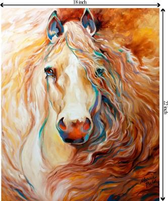 Tiedribbons Horse in Rush unframed Cotton Medium Grain Canvas Roll (Set of 1)