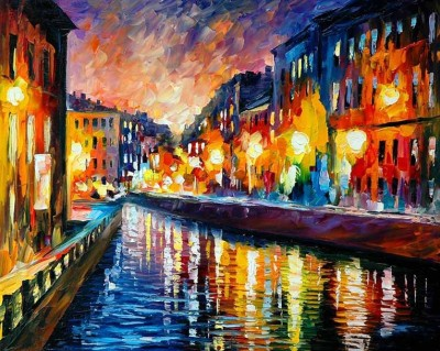 Painting Mantra City Light Oil Painting Canvas Painting