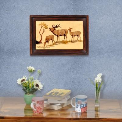 Designer Lanes ,Deers, Rosewood Wall Panels Natural Colors Painting