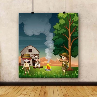 Artzfolio Kids Near The Campfire Framed Art Print Canvas Painting