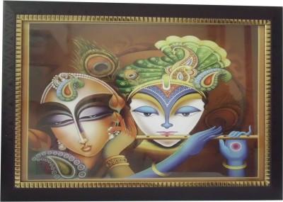 Quality Mart Magnificent Radhe-Krishna Ji With A Frame Ceramic Painting
