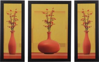 H,Decor Set of 3 Floral Pots Satin Matt Texture Canvas Painting