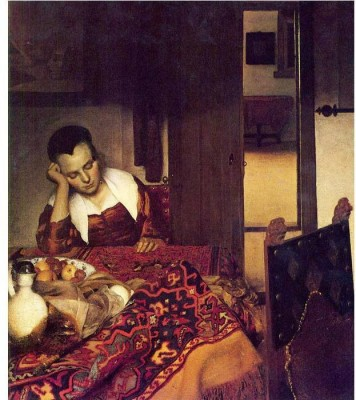 Snapgalaxy Art Panel - A woman asleep by Vermeer Canvas Painting