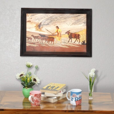 Designer Lanes ,Village Scene -Shepherdess with goats at sunset, Rosewood Wall Panels by Designer Lanes Natural Colors Painting