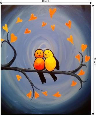 Tiedribbons True Love_Sheer Innocence Birds unframed Cotton Medium Grain Canvas Roll (Set of 1)
