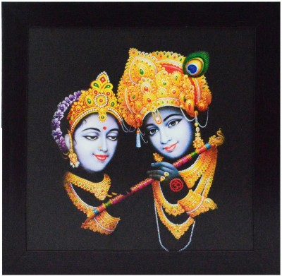 eCraftIndia Radha Krishna Playing Flute Showpiece  -  29 cm(Wooden, Paper, Multicolor)