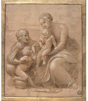 Snapgalaxy Art Panel - madonna col bambino san giovannino e sant elisabetta by Raffaello Canvas Painting