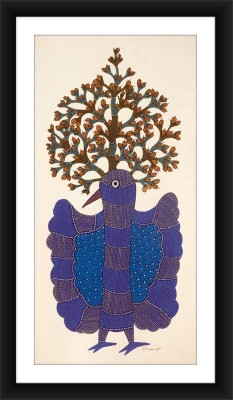 KalaSanthe Peacock And Tree Of Life In Gond Art Canvas Painting