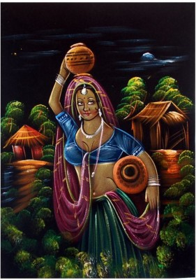 Villcart Lady Going To Fetch Water - Oil Painting