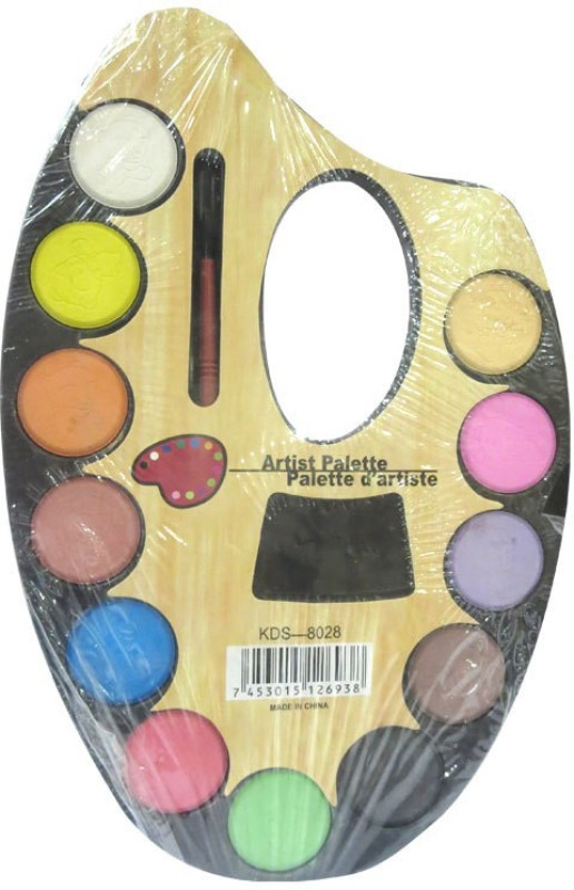 DCS wood 12 Paint Wells Palettes  with Lid(Set of 12, Multicolor)
