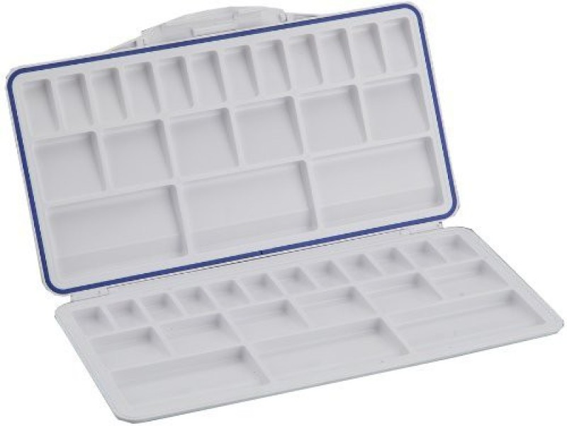 Pranika Plastic 21 Paint Wells Palettes  with Lid(Set of 1, White)