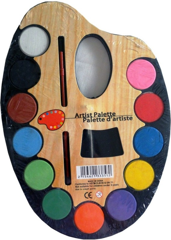 Trendy Artiste Plastic 14 Paint Wells Palettes(Set of 1, Black)