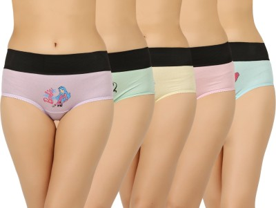 Vaishma Women's Brief Pink, Purple, Green, Yellow, Blue Panty(Pack of 5) at flipkart