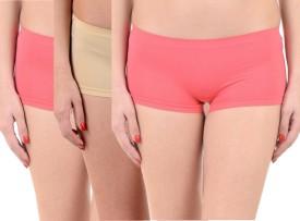 Lienz Women's Boy Short Pink, Beige Panty(Pack of 3)