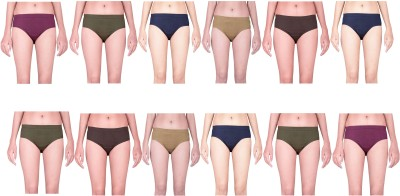 YASIQ Women's Bikini Multicolor Panty(Pack of 12) at flipkart