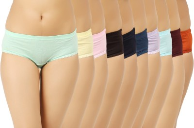 Vaishma Women's Brief Green, Yellow, Blue, Pink, Brown, Dark Blue, Orange, Maroon, Purple, Blue Panty(Pack of 10) at flipkart