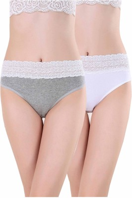 Aarti Apparels Women's Hipster Grey, White Panty(Pack of 2) at flipkart