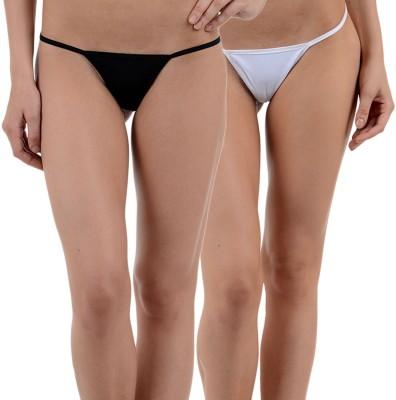 SIZZLE N SHINE Women's G-string Black, White Panty