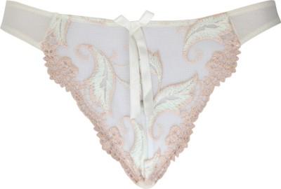 Peches Women's Thong White, Pink Panty