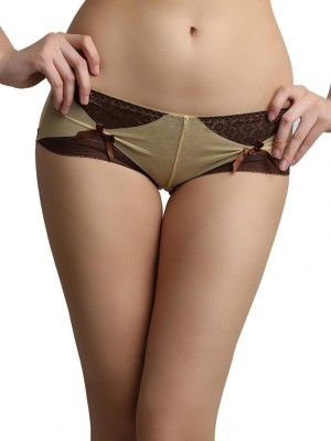 Shyle Women's Bikini Brown, Yellow Panty