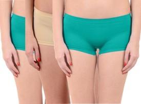 Lienz Women's Boy Short Green, Pink, Beige Panty(Pack of 3)