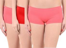 Lienz Women's Boy Short Pink, Red Panty(Pack of 3)