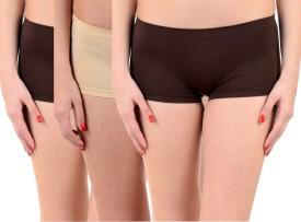 Lienz Women's Boy Short Orange, Purple, Beige Panty(Pack of 3)