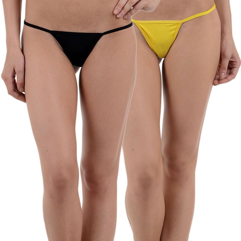 JKFs Women's G-string Black, Yellow Panty(Pack of 2)