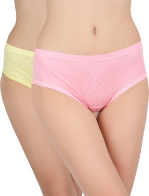 Avzee Embroidered Women's Hipster Blue, Yellow Panty
