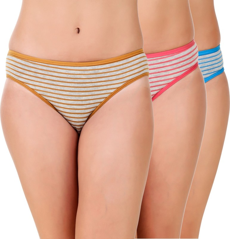 Masha Women's Brief Multicolor Panty(Pack of 3)