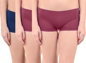 Lienz Women's Boy Short Blue, Maroon Panty(Pack of 3)