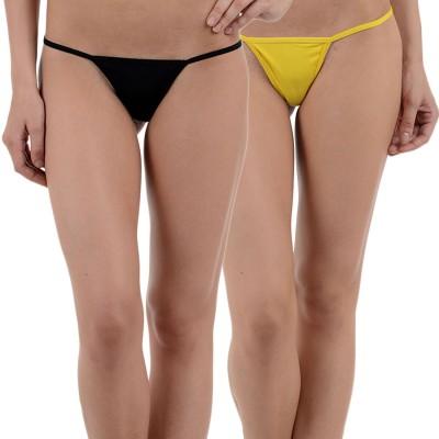 Aws Fashion Women's G-string Black, Yellow Panty