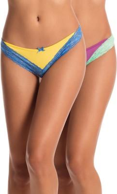 PrettySecrets Women's Thong Yellow, Purple Panty(Pack of 2) at flipkart