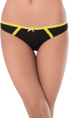 PrettySecrets Womens Bikini Black, Yellow Panty(Pack of 1)