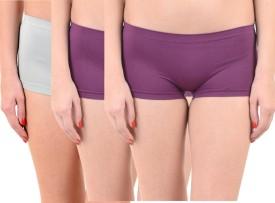 Lienz Women's Boy Short Grey, Purple Panty(Pack of 3)