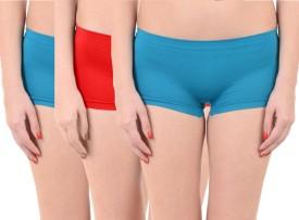 Lienz Women's Boy Short Light Blue, Pink, Red Panty(Pack of 3)